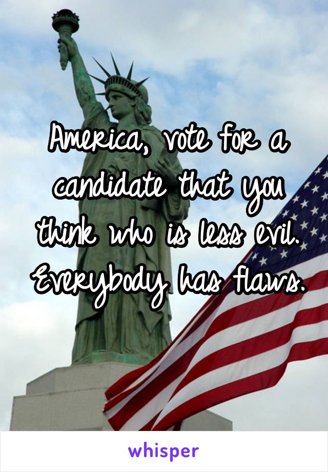 America, vote for a candidate that you think who is less evil. Everybody has flaws.