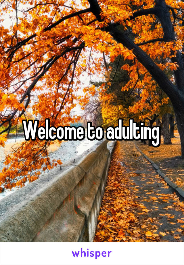 Welcome to adulting