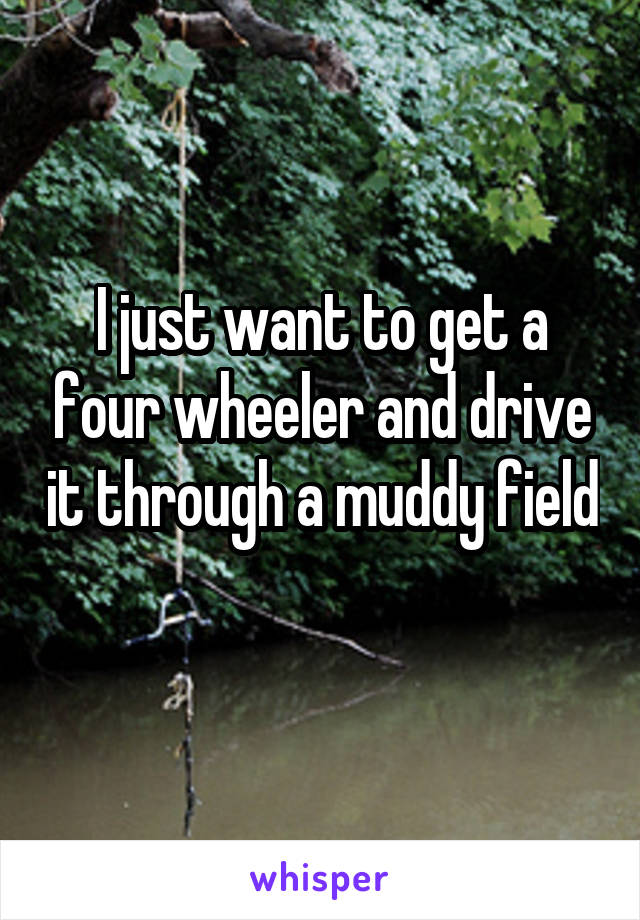 I just want to get a four wheeler and drive it through a muddy field