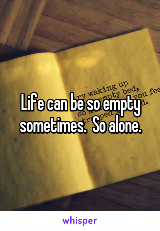 Life can be so empty sometimes.  So alone.