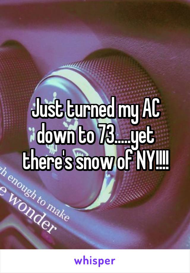 Just turned my AC down to 73.....yet there's snow of NY!!!!