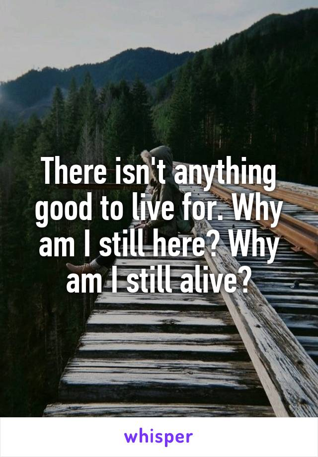 There isn't anything good to live for. Why am I still here? Why am I still alive?