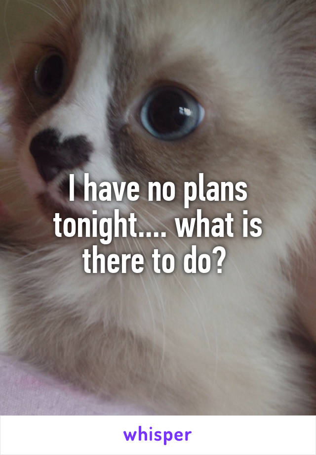 I have no plans tonight.... what is there to do?