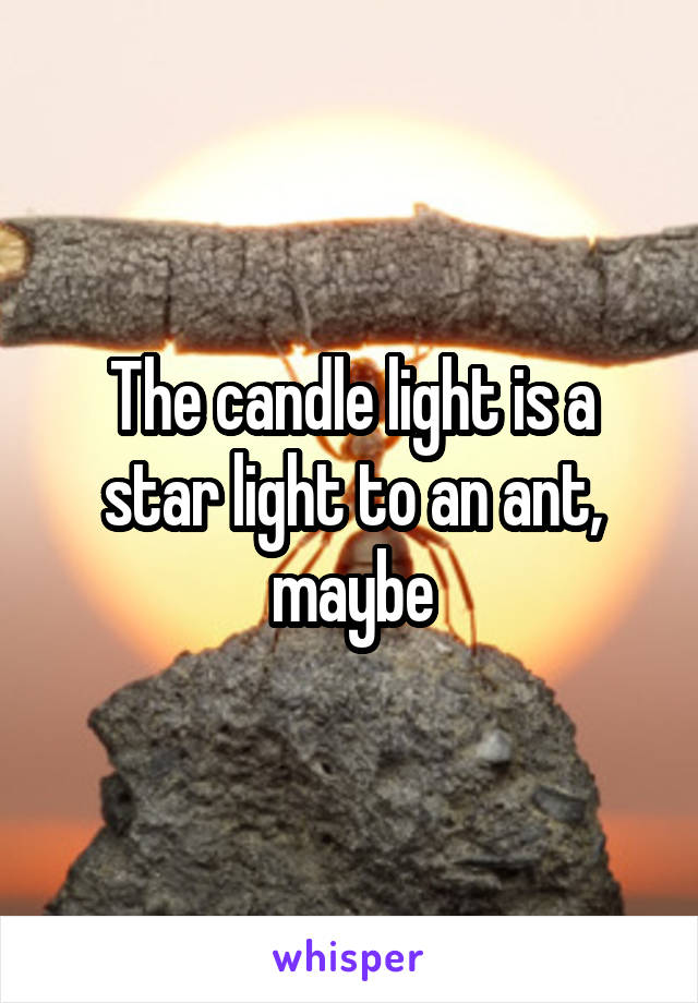 The candle light is a star light to an ant, maybe