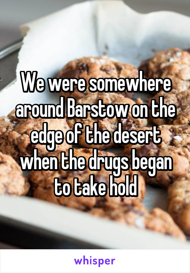 We were somewhere around Barstow on the edge of the desert when the drugs began to take hold