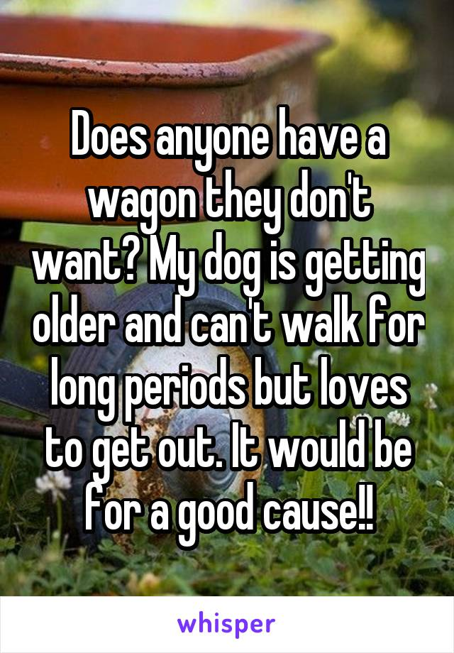 Does anyone have a wagon they don't want? My dog is getting older and can't walk for long periods but loves to get out. It would be for a good cause!!