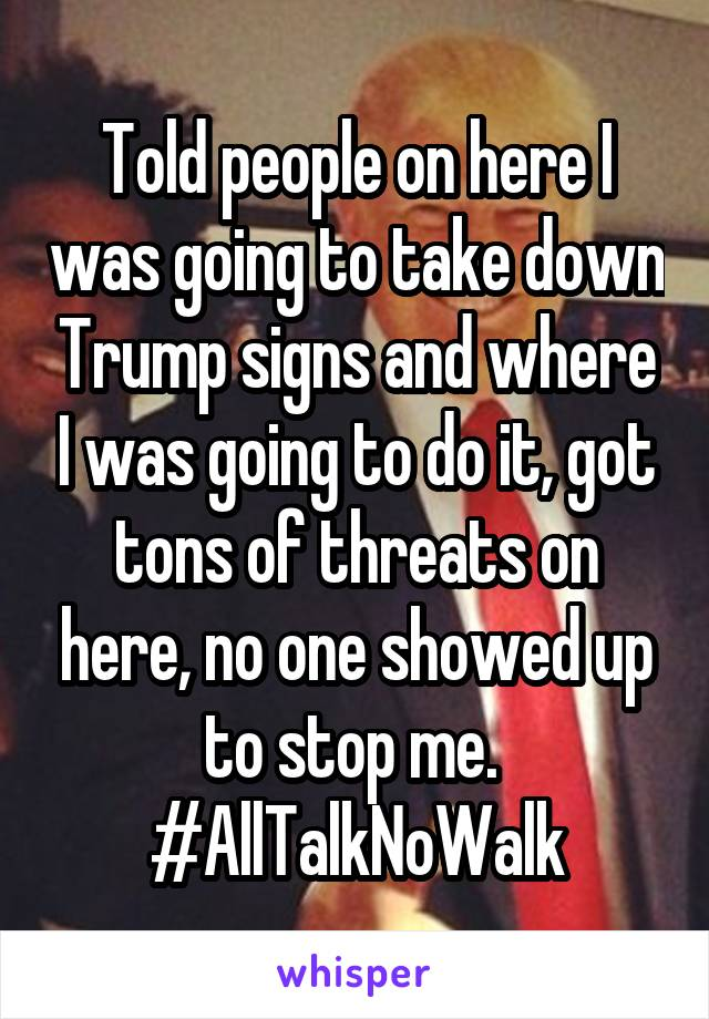 Told people on here I was going to take down Trump signs and where I was going to do it, got tons of threats on here, no one showed up to stop me.  #AllTalkNoWalk