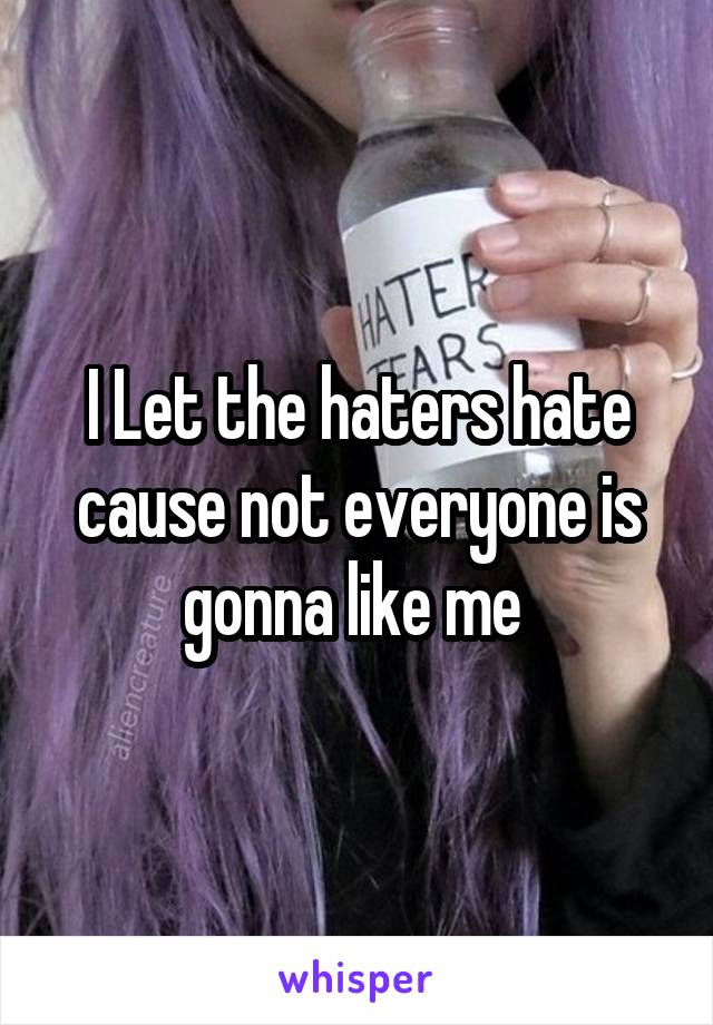 I Let the haters hate cause not everyone is gonna like me