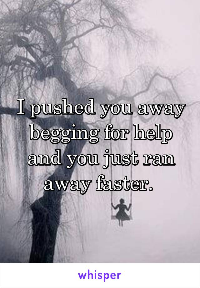 I pushed you away begging for help and you just ran away faster.
