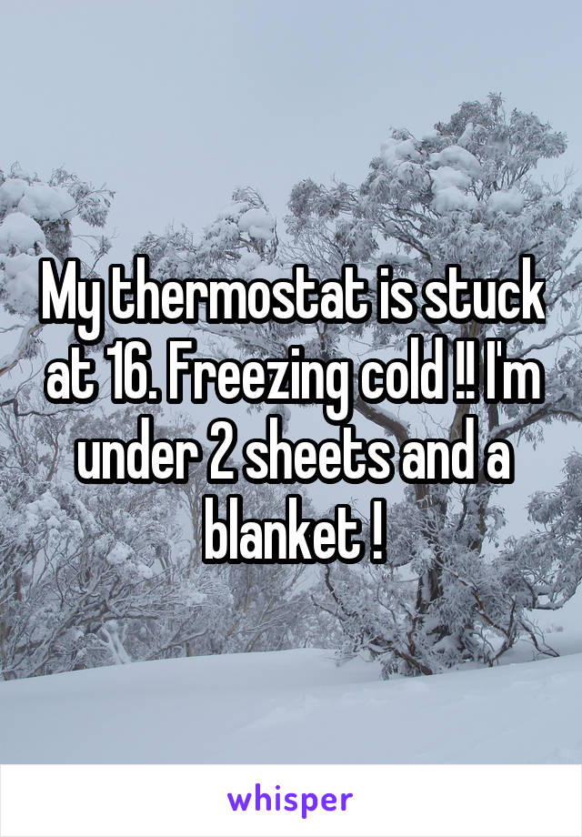 My thermostat is stuck at 16. Freezing cold !! I'm under 2 sheets and a blanket !