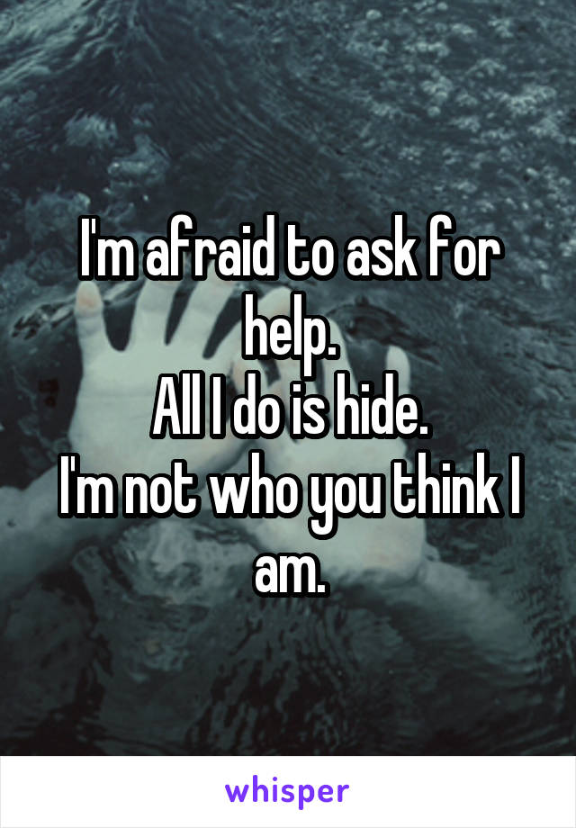 I'm afraid to ask for help. All I do is hide. I'm not who you think I am.