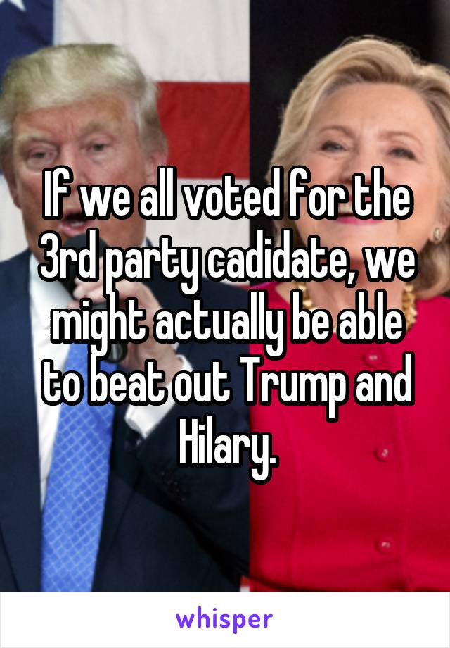 If we all voted for the 3rd party cadidate, we might actually be able to beat out Trump and Hilary.
