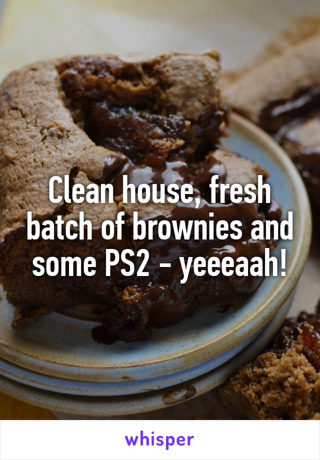 Clean house, fresh batch of brownies and some PS2 - yeeeaah!