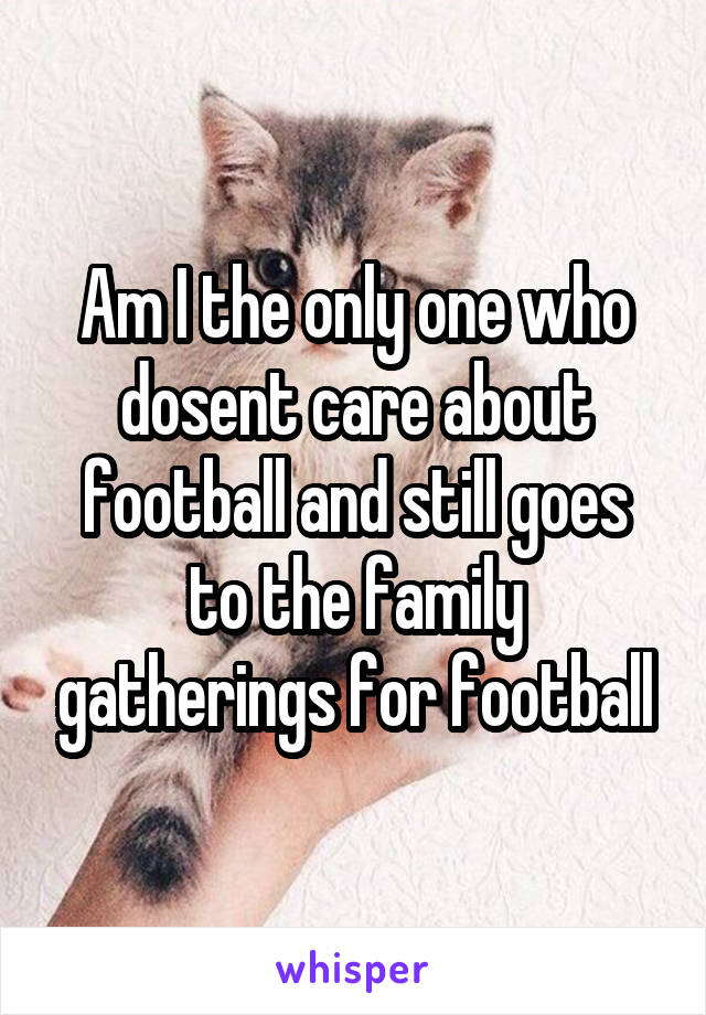 Am I the only one who dosent care about football and still goes to the family gatherings for football