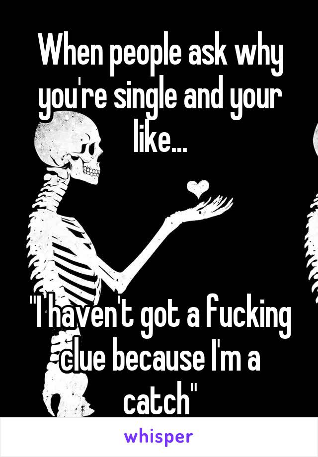 """When people ask why you're single and your like...    """"I haven't got a fucking clue because I'm a catch"""""""