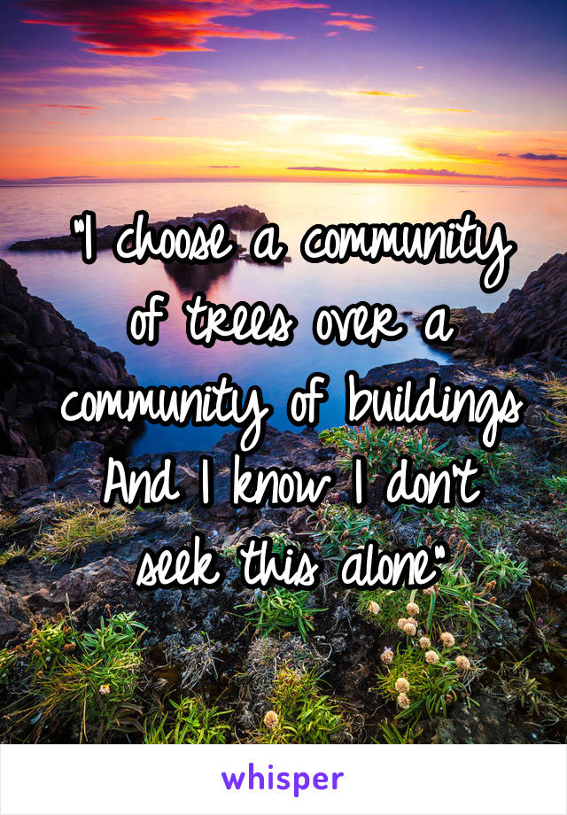 """I choose a community of trees over a community of buildings And I know I don't seek this alone"""