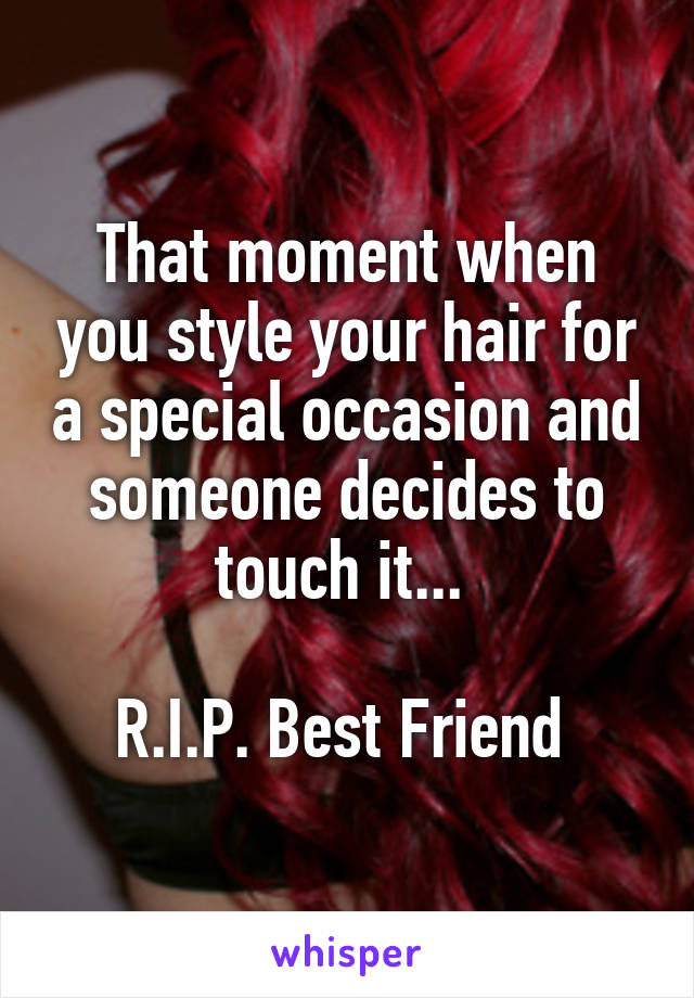 That moment when you style your hair for a special occasion and someone decides to touch it...   R.I.P. Best Friend
