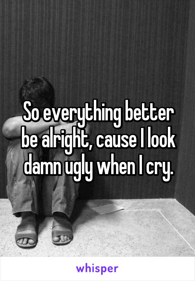 So everything better be alright, cause I look damn ugly when I cry.