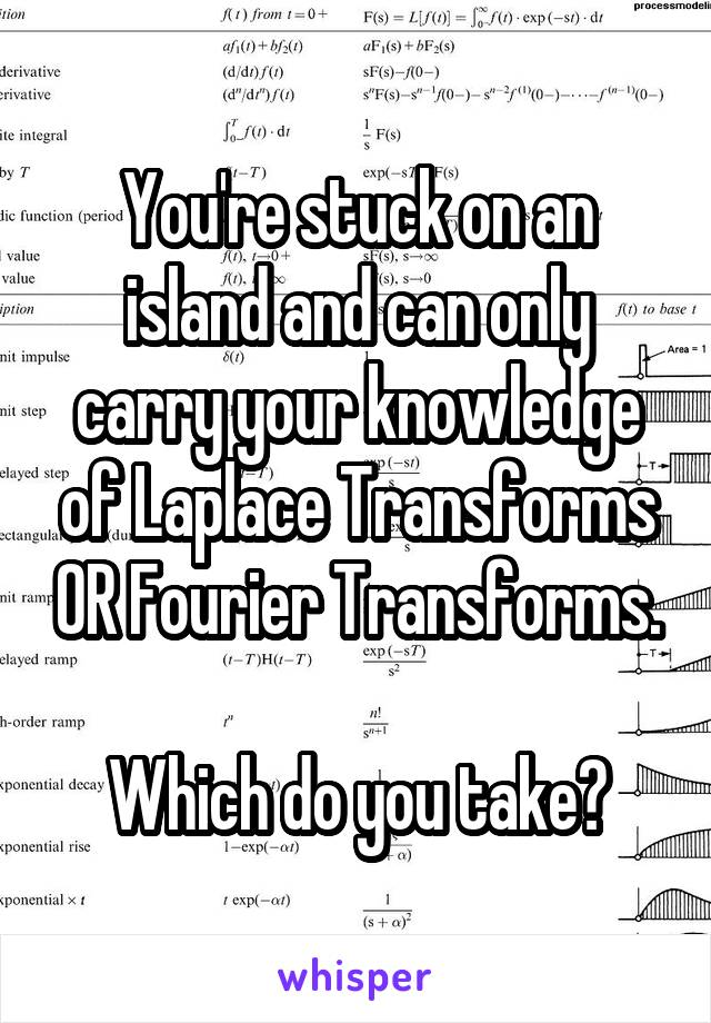 You're stuck on an island and can only carry your knowledge of Laplace Transforms OR Fourier Transforms.  Which do you take?