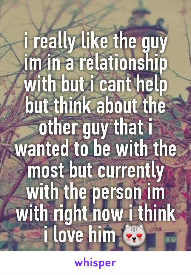 i really like the guy im in a relationship with but i cant help but think about the other guy that i wanted to be with the most but currently with the person im with right now i think i love him 😻