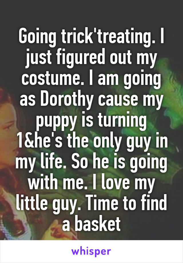 Going trick'treating. I just figured out my costume. I am going as Dorothy cause my puppy is turning 1&he's the only guy in my life. So he is going with me. I love my little guy. Time to find a basket