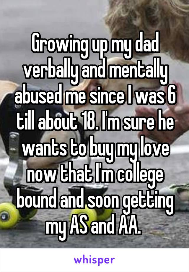 Growing up my dad verbally and mentally abused me since I was 6 till about 18. I'm sure he wants to buy my love now that I'm college bound and soon getting my AS and AA.
