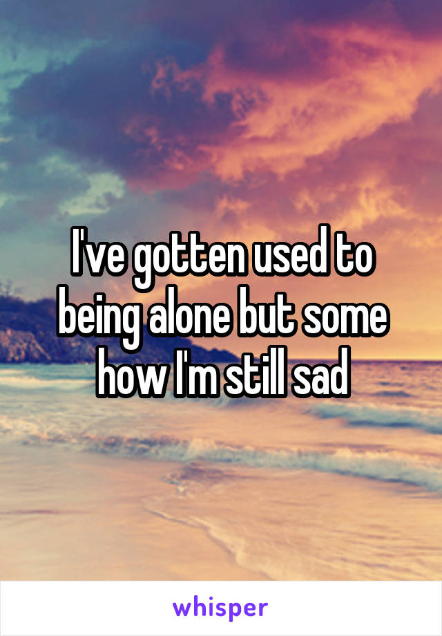 I've gotten used to being alone but some how I'm still sad