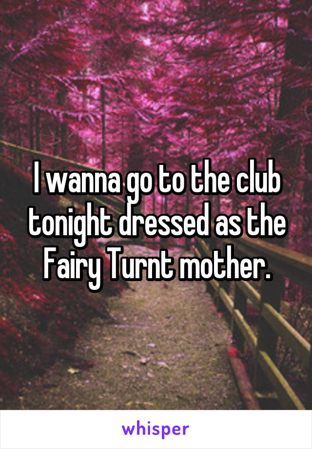 I wanna go to the club tonight dressed as the Fairy Turnt mother.