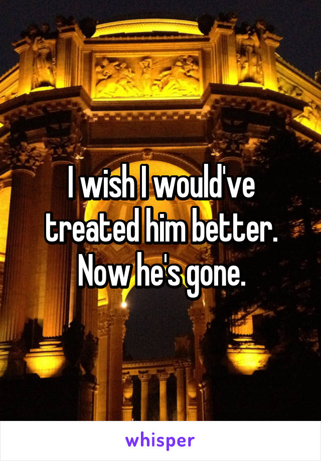 I wish I would've treated him better. Now he's gone.