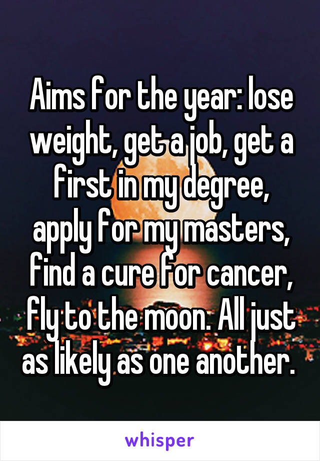 Aims for the year: lose weight, get a job, get a first in my degree, apply for my masters, find a cure for cancer, fly to the moon. All just as likely as one another.