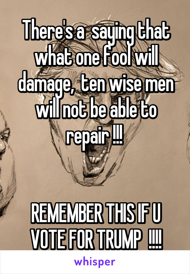 There's a  saying that what one fool will damage,  ten wise men will not be able to repair !!!    REMEMBER THIS IF U VOTE FOR TRUMP  !!!!