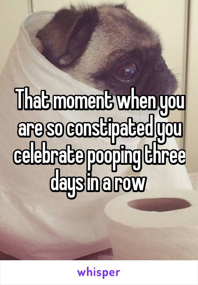 That moment when you are so constipated you celebrate pooping three days in a row