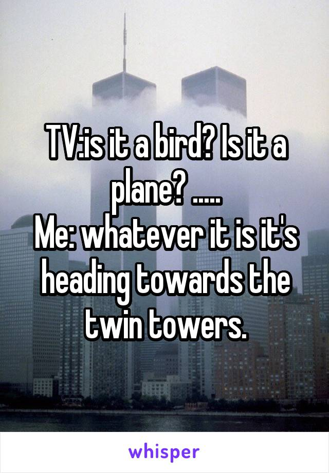 TV:is it a bird? Is it a plane? ..... Me: whatever it is it's heading towards the twin towers.