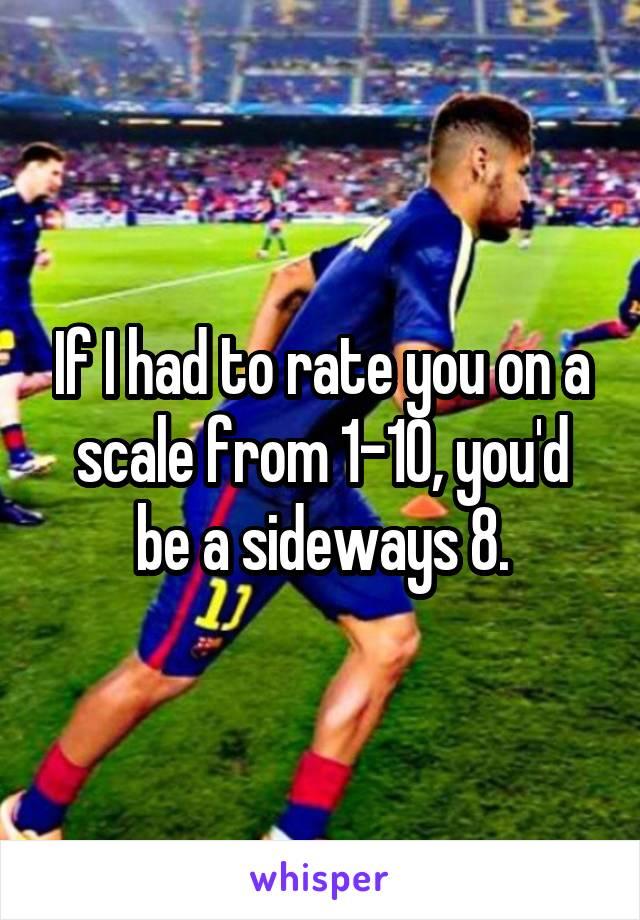 If I had to rate you on a scale from 1-10, you'd be a sideways 8.
