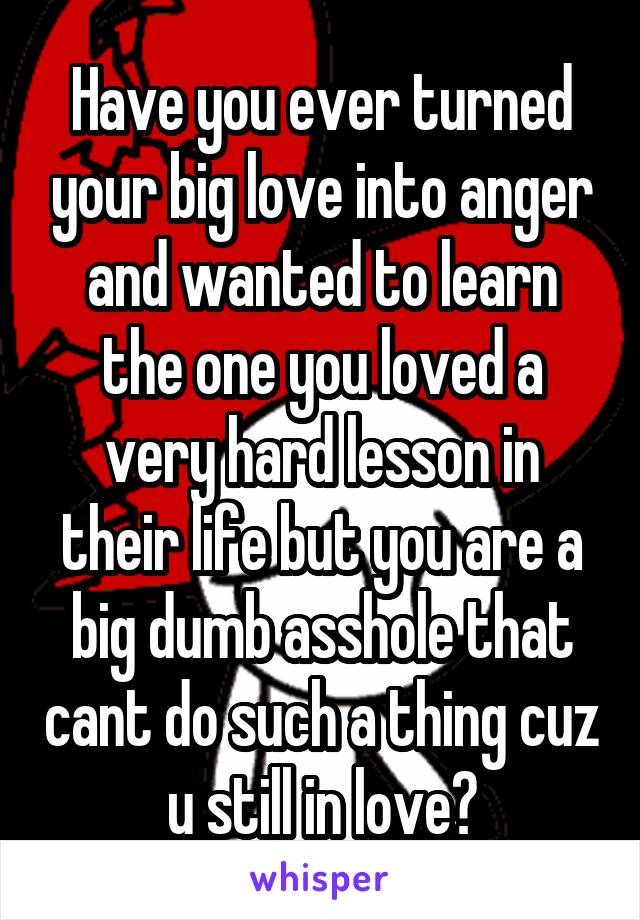 Have you ever turned your big love into anger and wanted to learn the one you loved a very hard lesson in their life but you are a big dumb asshole that cant do such a thing cuz u still in love?