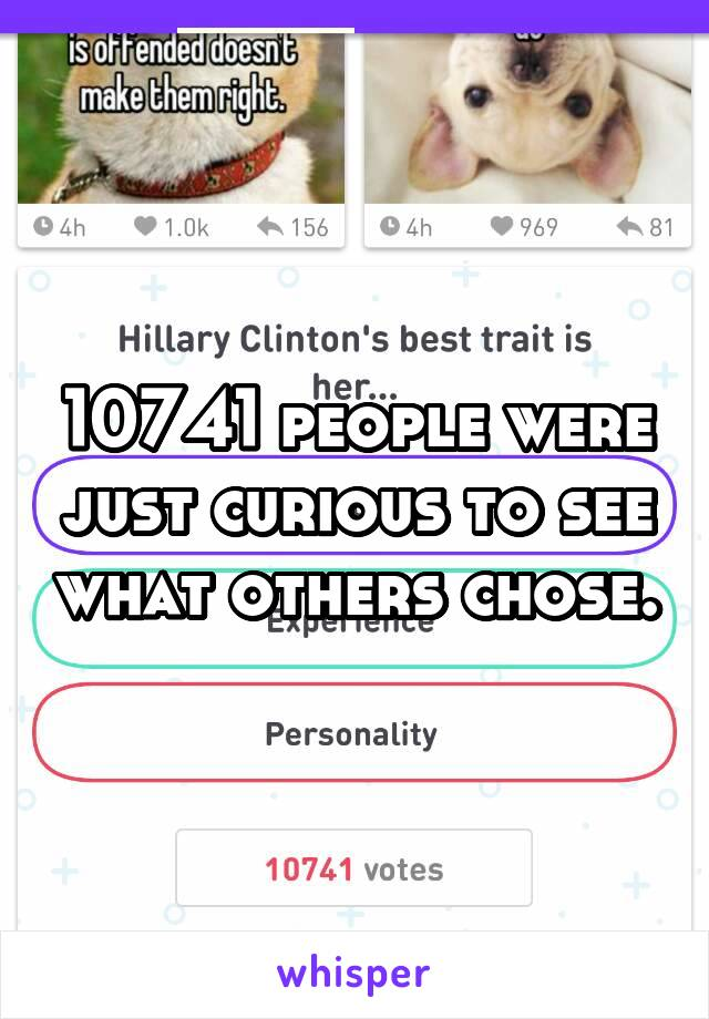 10741 people were just curious to see what others chose.