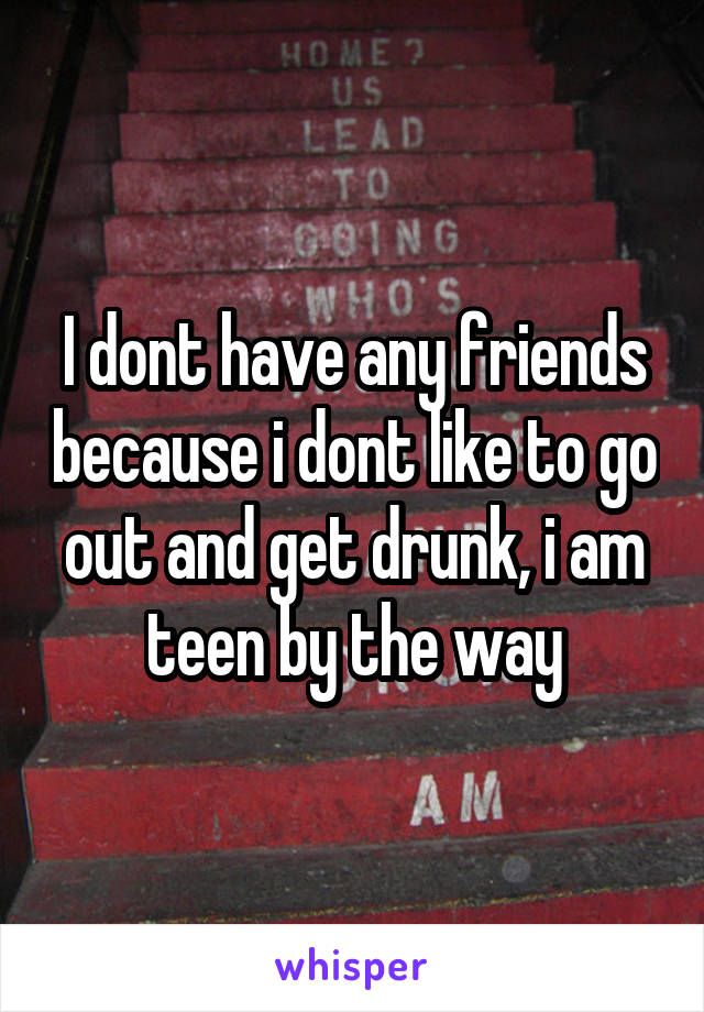 I dont have any friends because i dont like to go out and get drunk, i am teen by the way