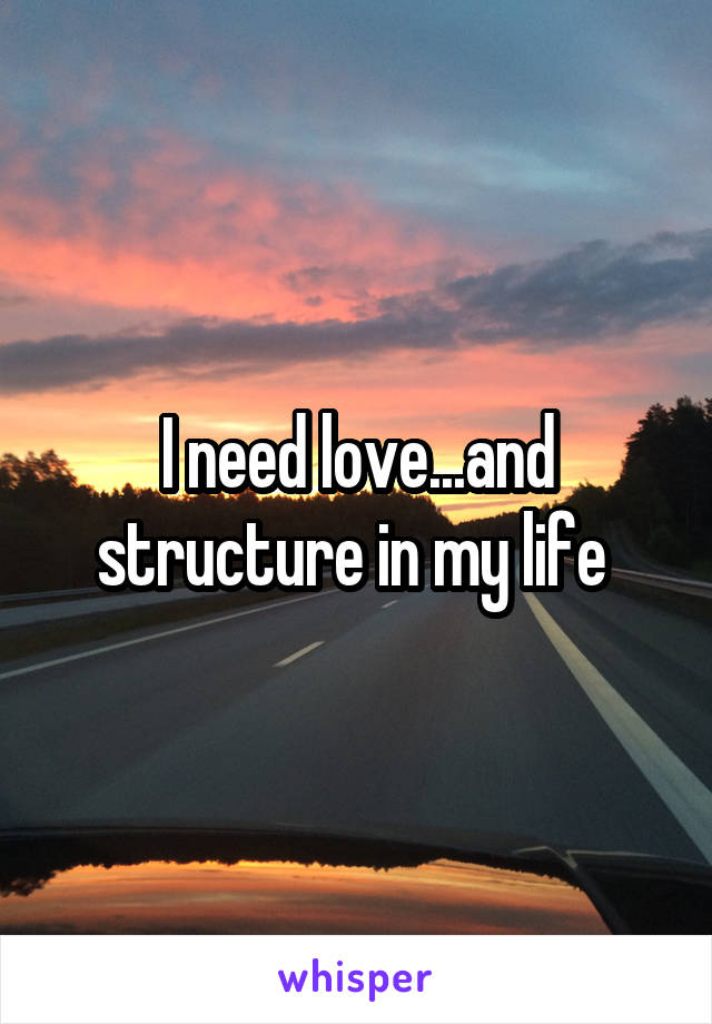 I need love...and structure in my life