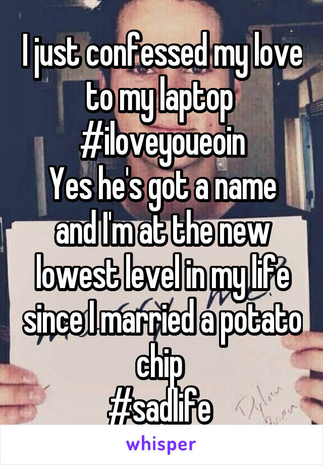 I just confessed my love to my laptop  #iloveyoueoin Yes he's got a name and I'm at the new lowest level in my life since I married a potato chip  #sadlife