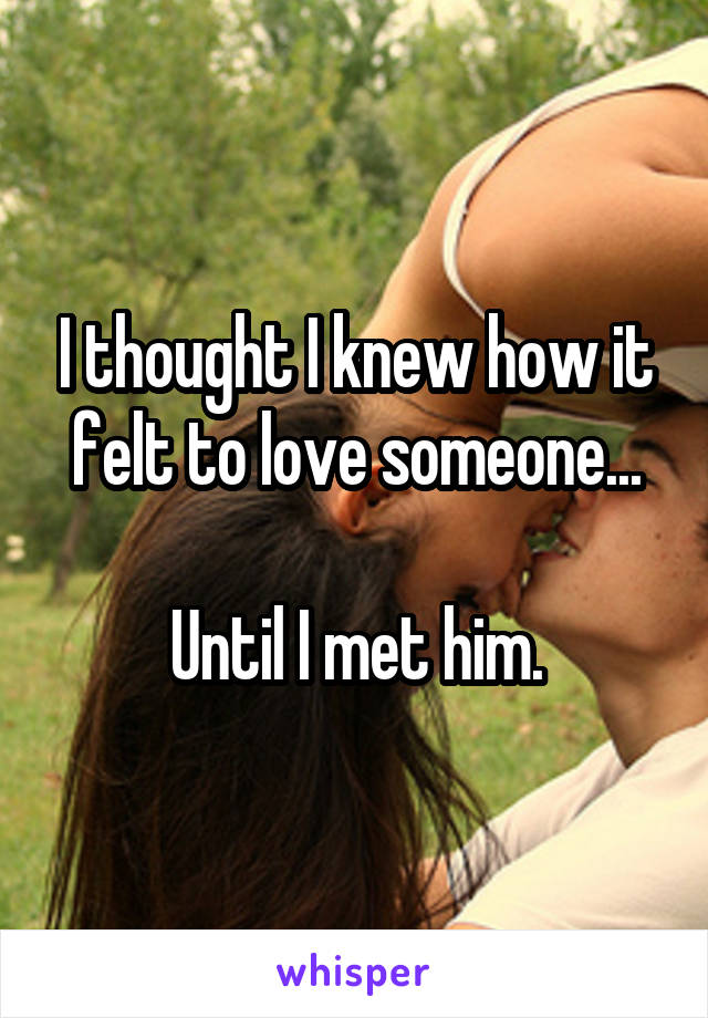 I thought I knew how it felt to love someone...  Until I met him.