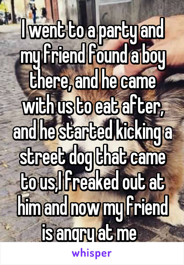 I went to a party and my friend found a boy there, and he came with us to eat after, and he started kicking a street dog that came to us,I freaked out at him and now my friend is angry at me