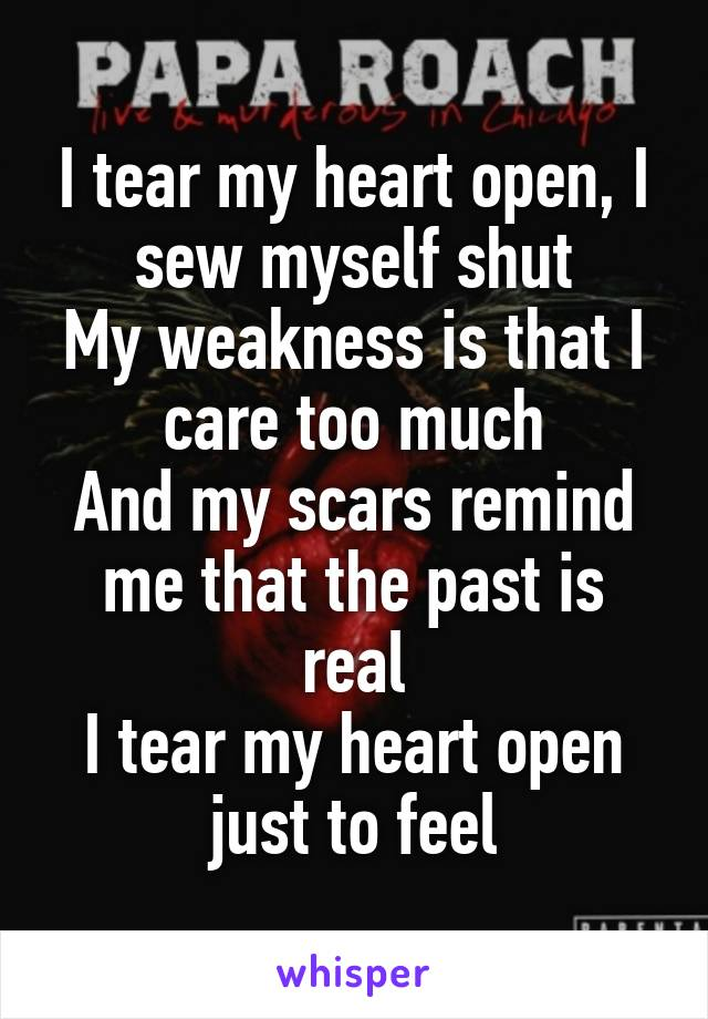 I tear my heart open, I sew myself shut My weakness is that I care too much And my scars remind me that the past is real I tear my heart open just to feel