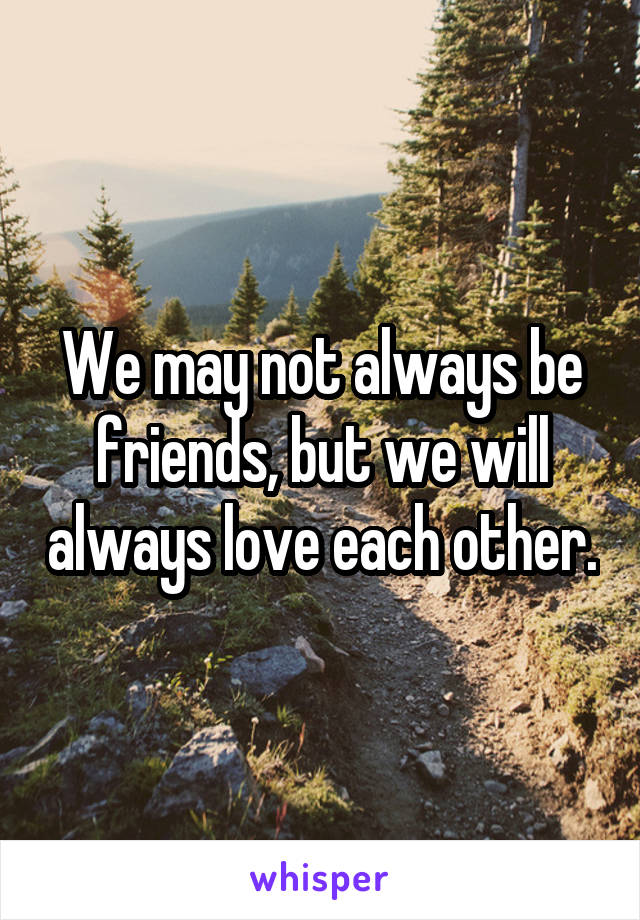 We may not always be friends, but we will always love each other.