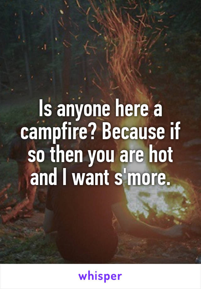 Is anyone here a campfire? Because if so then you are hot and I want s'more.