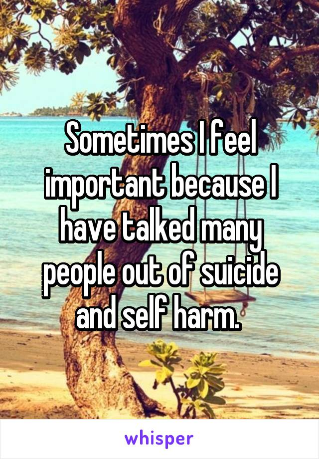 Sometimes I feel important because I have talked many people out of suicide and self harm.