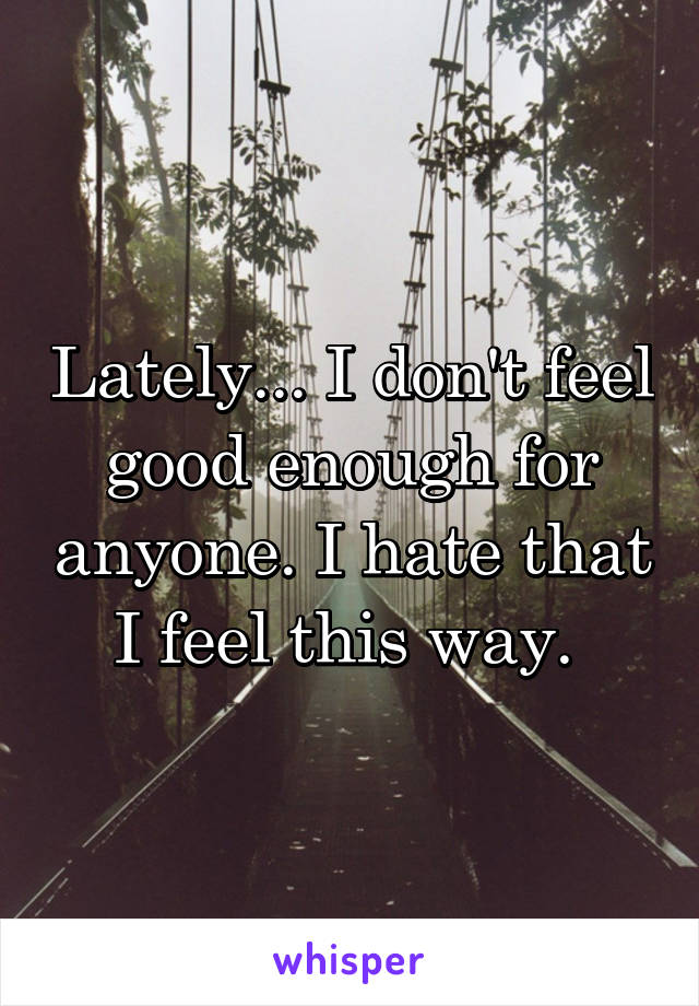 Lately... I don't feel good enough for anyone. I hate that I feel this way.