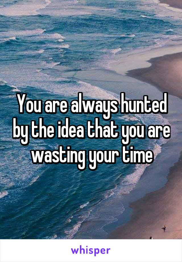 You are always hunted by the idea that you are wasting your time