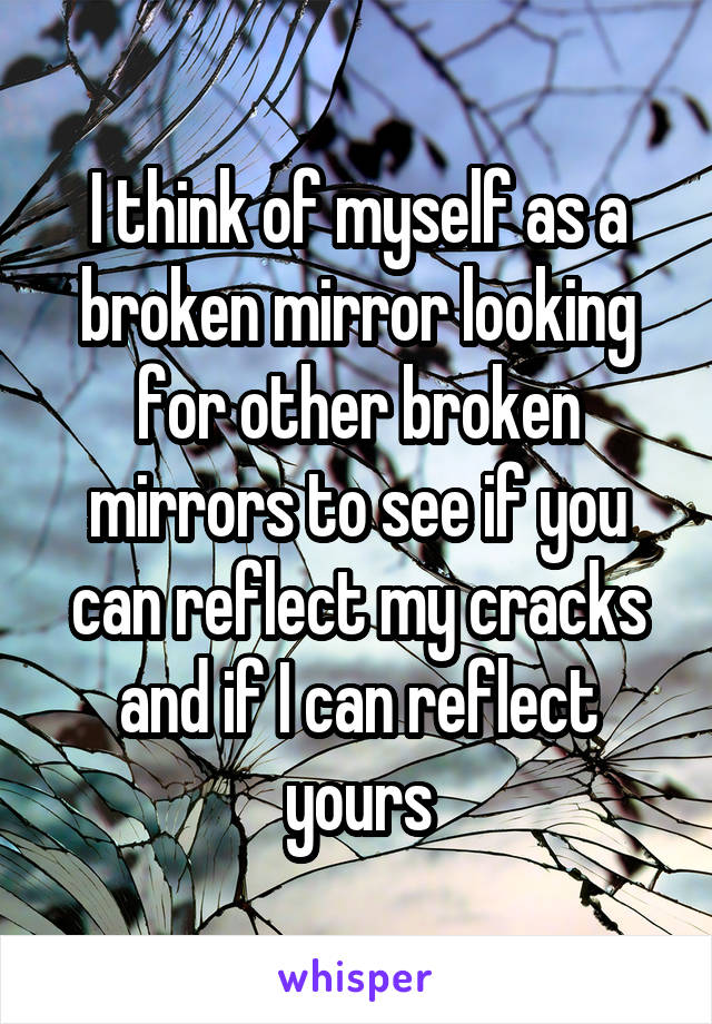 I think of myself as a broken mirror looking for other broken mirrors to see if you can reflect my cracks and if I can reflect yours