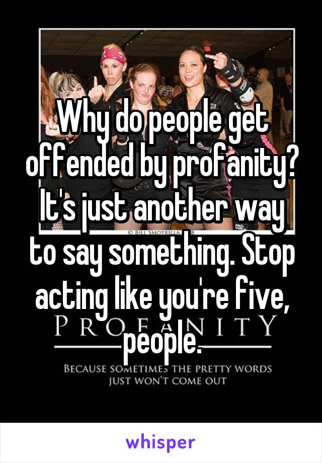 Why do people get offended by profanity? It's just another way to say something. Stop acting like you're five, people.