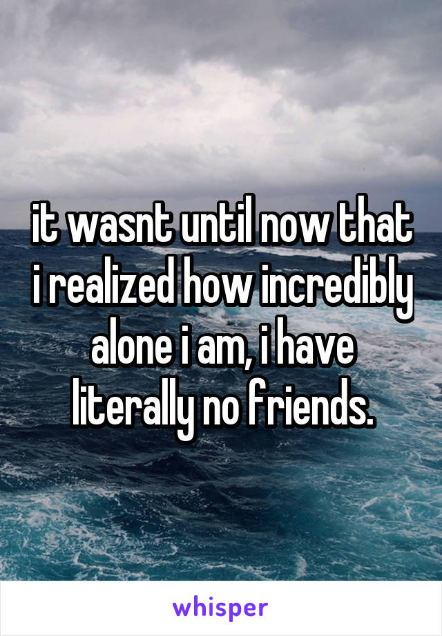 it wasnt until now that i realized how incredibly alone i am, i have literally no friends.